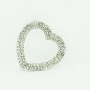 Sterling silver 925 Heart Pendant with Diamonds